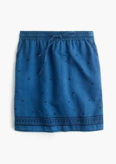 Pull-on embroidered skirt