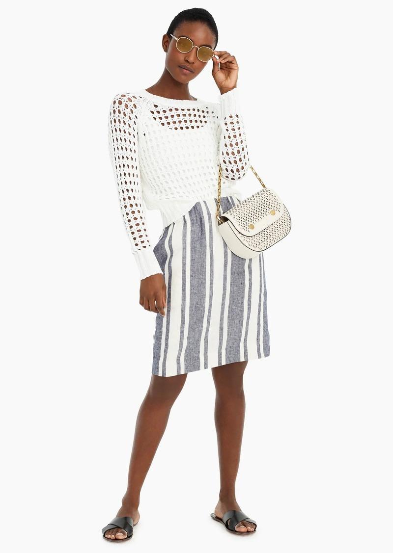 J.Crew Pull-on skirt in striped Beauchamps linen