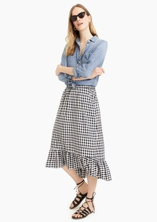 J.Crew Pull-on midi skirt in gingham