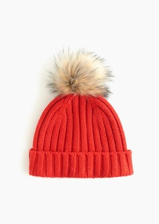 J.Crew Ribbed beanie with faux-fur pom-pom