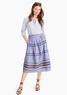 J.Crew Rickrack trim skirt in cotton poplin