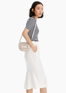 J.Crew Ruffle-back pencil skirt in bi-stretch cotton