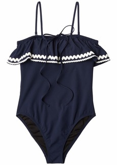 J.Crew Ruffle Bandeau One-Piece Swimsuit in Piqué Nylon with Rickrack