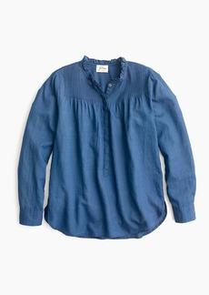 J.Crew Ruffle classic popover shirt in indigo