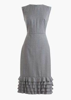 Ruffle-hem sheath dress in Super 120s wool