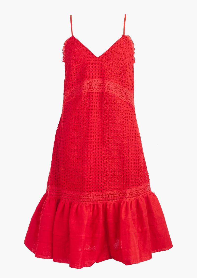 J.Crew Ruffle-hem spaghetti-strap dress in eyelet