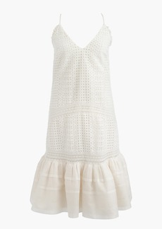 Ruffle-hem spaghetti-strap dress in eyelet