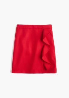 Ruffle mini skirt in double-serge wool