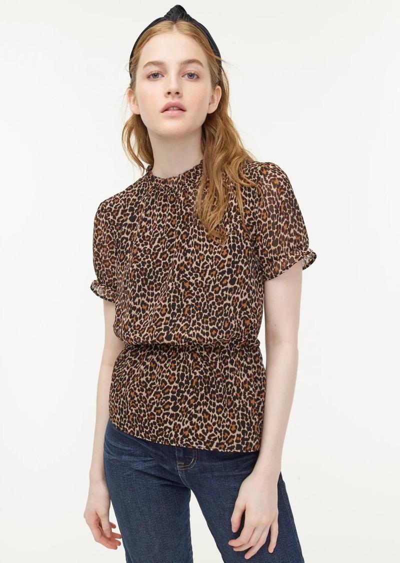 J.Crew Ruffle-neck blouse in leopard-print chiffon