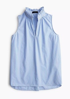 J.Crew Ruffle-neck top in striped cotton poplin