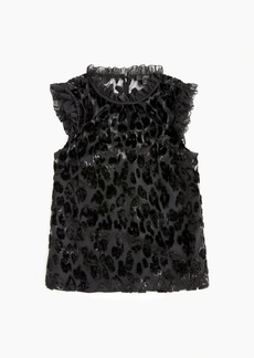 J.Crew Ruffle shell in burnout velvet leopard