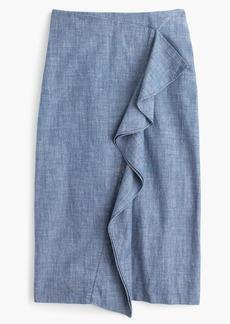 Ruffle skirt in chambray