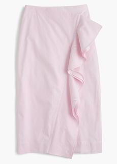 Ruffle skirt in striped poplin