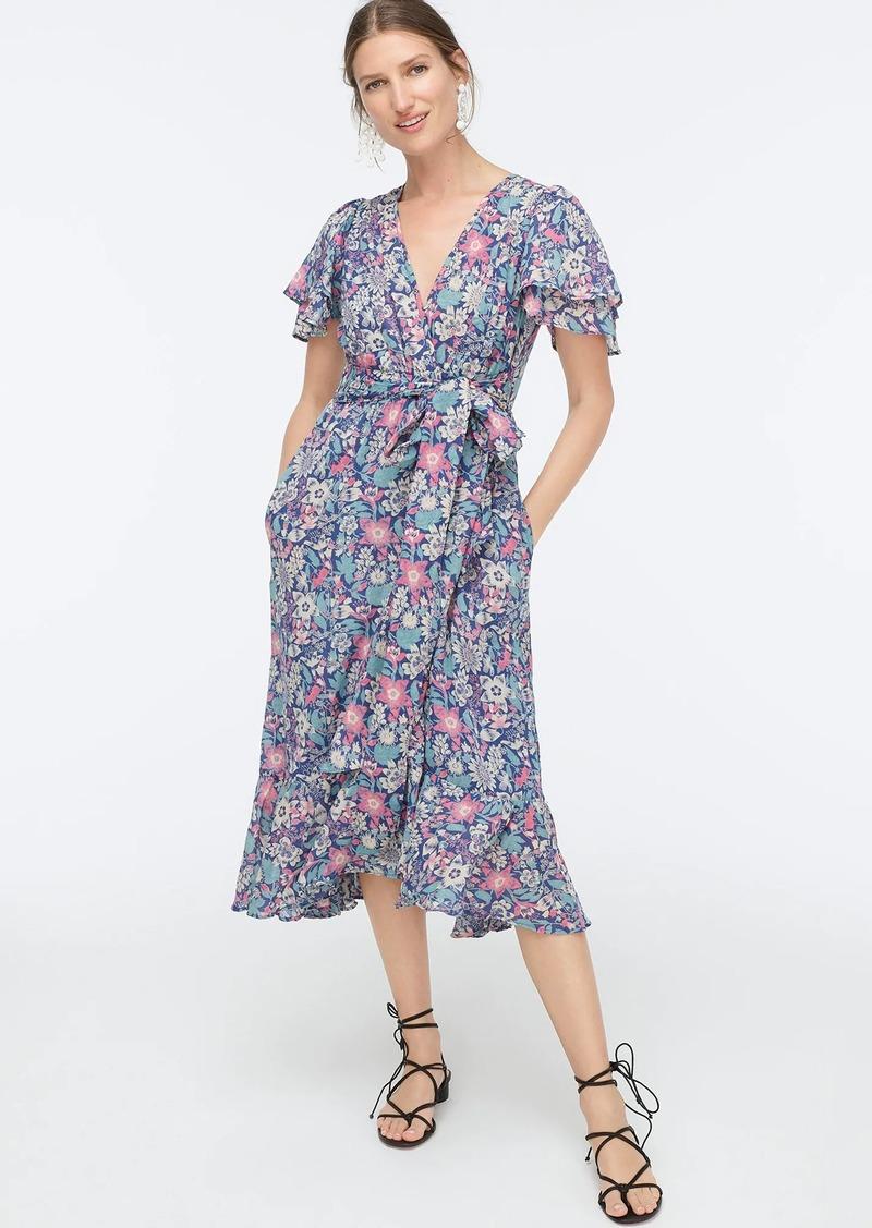 J.Crew Ruffle-sleeve cotton wrap dress in wildflower floral print
