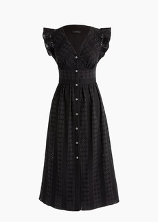 J.Crew Ruffle-sleeve eyelet dress