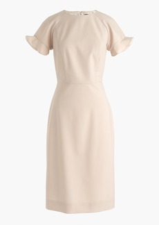 J.Crew Ruffle-sleeve sheath dress in Italian stretch wool