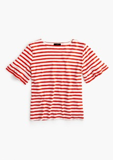 J.Crew Ruffle-sleeve T-shirt in stripe