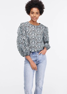 J.Crew Ruffle-sleeve top in Liberty® sea grass floral