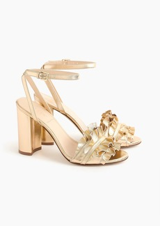 J.Crew Ruffle-strap heels (100mm) in metallic gold leather