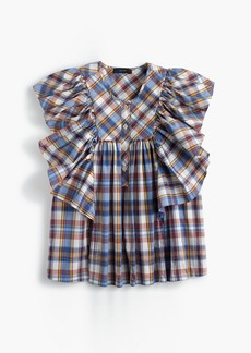 J.Crew Ruffle top in vintage plaid