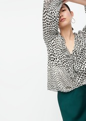 J.Crew Ruffle-trim V-neck blouse in allover heart print