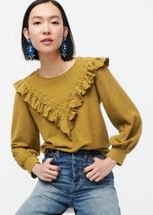 J.Crew Ruffle-trim honeycomb-knit cotton top