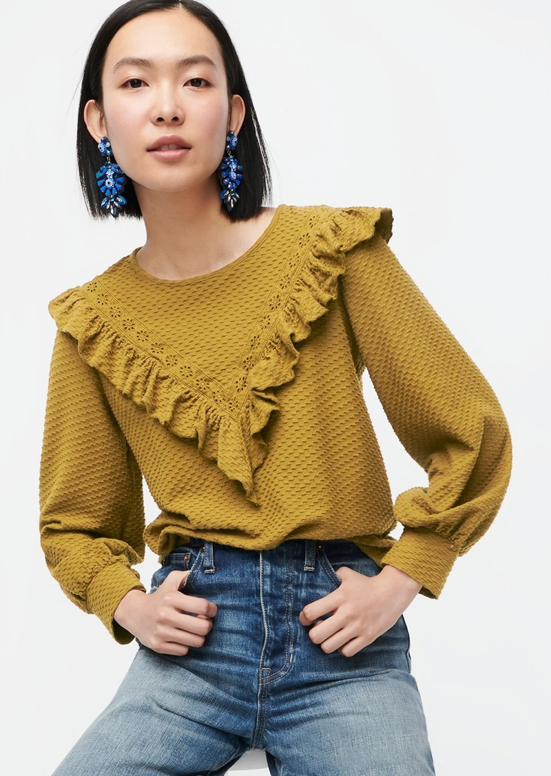 J.Crew Ruffle-trim honeycomb-knit cotton top