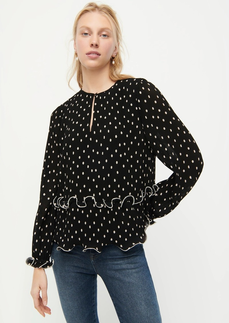 J.Crew Ruffle-trim pleated peplum top in polka dot