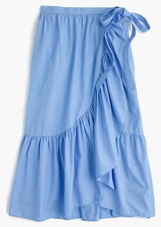 Ruffle wrap skirt in cotton poplin