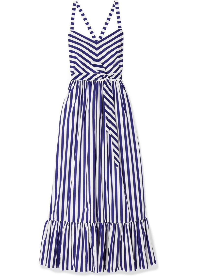 354fa4d8f10d J.Crew Ruffled Striped Cotton-poplin Maxi Dress