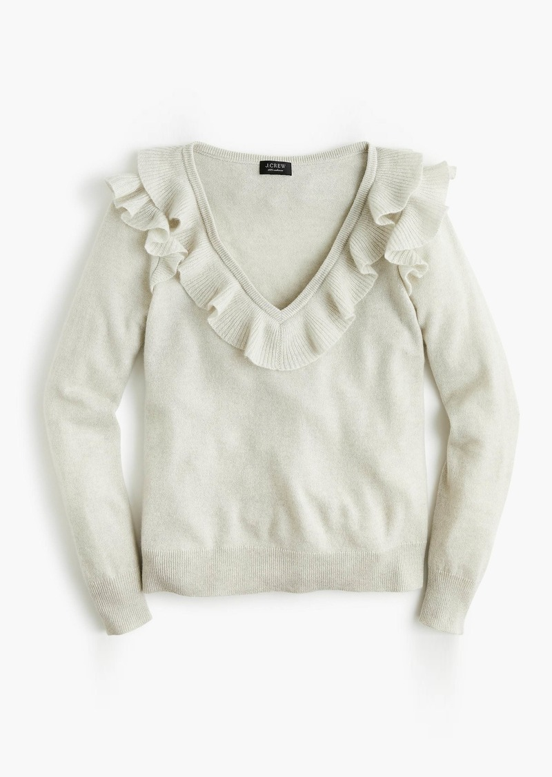 J.Crew Ruffled V-neck in everyday cashmere