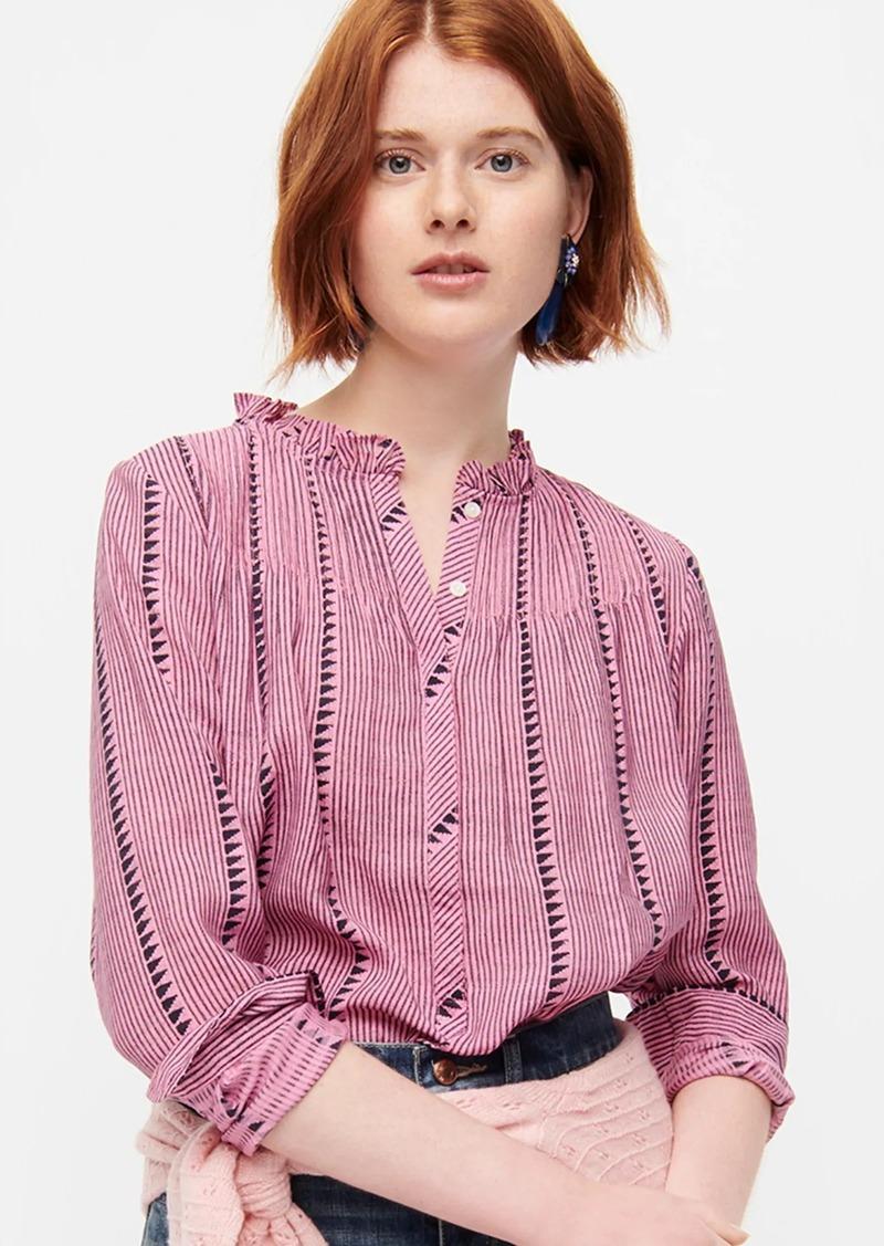 J.Crew Ruffleneck classic popover shirt in shadow stripe