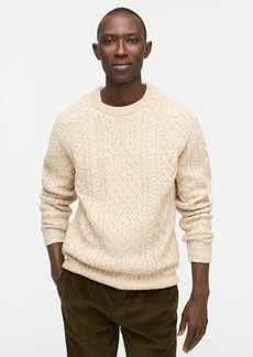 J.Crew Rugged merino wool-blend donegal cable-knit crewneck sweater