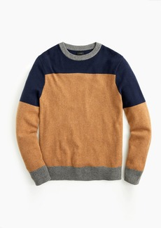 J.Crew Rugged merino wool colorblock crewneck sweater