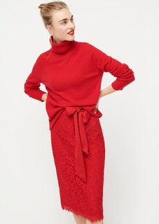 J.Crew Satin-bow lace skirt