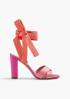 Satin colorblock sandals with ankle wraps