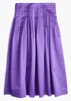 Petite satin pleated midi skirt