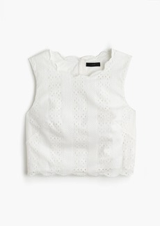 Scalloped crop top in eyelet