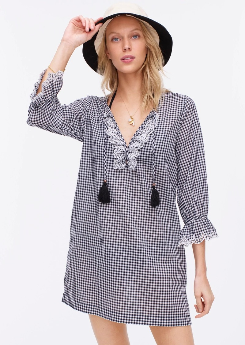 J.Crew Scalloped tunic in textured gingham