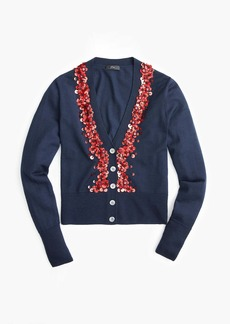 J.Crew Sequin embellished V-neck cardigan sweater