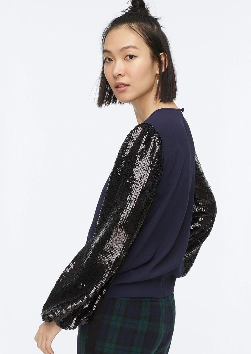 J.Crew Sequin-sleeve crepe blouse