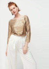 J.Crew Sequined three-quarter-sleeve boatneck top