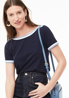 J.Crew Short-sleeve boatneck T-shirt with pop trim