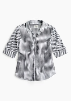 98bb44fb371feb J.Crew Petite short-sleeve button-up shirt in stripe