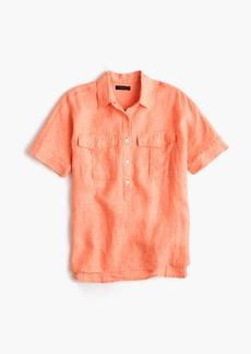 Short-sleeve popover shirt in Irish linen