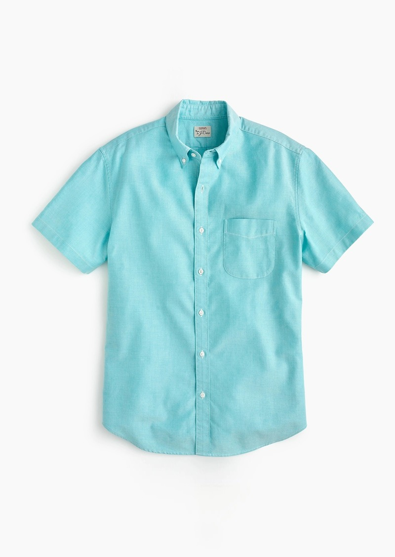 a3275cc1 J.Crew Short-sleeve stretch American Pima oxford shirt in turquoise ...
