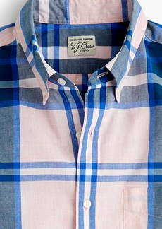 J.Crew Short-sleeve stretch Secret Wash shirt in heather poplin plaid