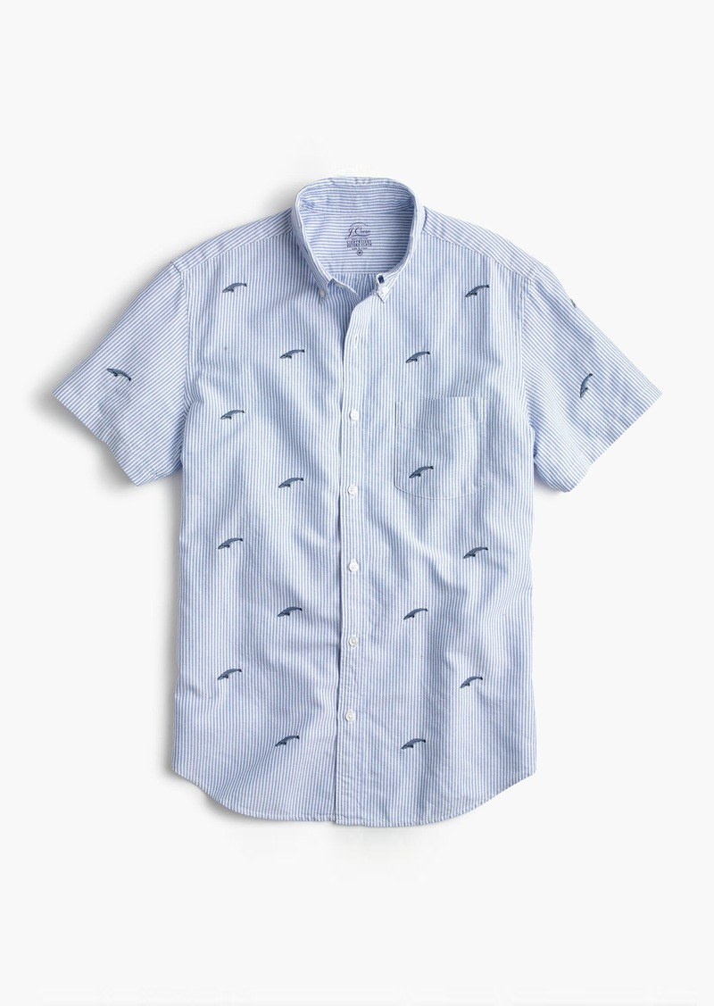 J.Crew Short-sleeve striped oxford shirt in embroidered whales