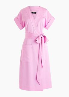 J.Crew Short-sleeve wrap dress in satin-back crepe