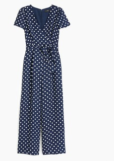 J.Crew Short-sleeve wrap jumpsuit in polka dot